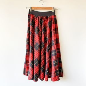 Vintage New York Clothing Co. Red Plaid Midi Skirt